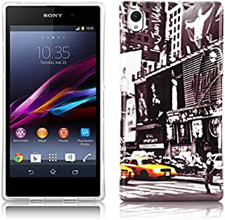 Cadorabo - Hard Case Back Cover works with Sony Xperia Z1 – Bumper Protection Skin Design: NEW YORK CAB