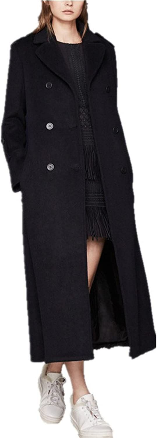 Bobbycool Double Breasted Lady's Pure Long Wool Woolen Fashion Big Lapel
