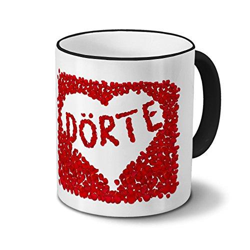 printplanet Tasse mit Namen Dörte - Motiv Blumenherz - Namenstasse, Kaffeebecher, Mug, Becher, Kaffeetasse - Farbe Schwarz
