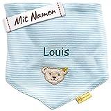 LALALO Steiff Baby Jersey Halstuch bestickt mit Namen, Dreieckstuch/Nickytuch personalisiert, Nickituch Teddy Bär, Streifen & Bindbare Enden, Junge (Hell Blau)
