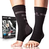 Powerlix Ankle Compression Sleeve, Nano Socks, Arch & Ankle Support for Men & Women (Pair), Toeless Foot & Ankle Brace for Running, Injury Recovery, Neuropathy, Heel & Achilles Tendonitis Pain Relief