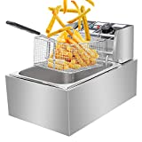 Henf 6 Litre 2500W Stainless Steel Fryer, Commercial Electric Deep Fat Fryer Countertop Oil Fryer with Timer...