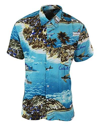 GOV-DENIM Camicia Estiva da Uomo Stile Hawaiano Floreale a Maniche Corte Verde Turchese XXL