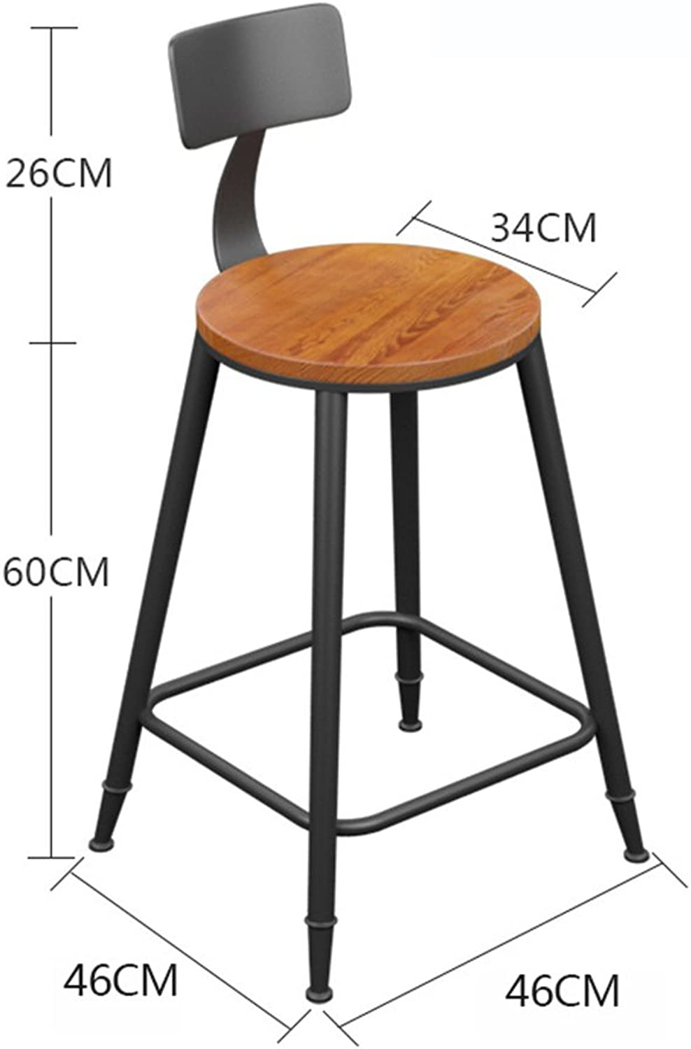 Chair Bar Chair Breakfast Chair Family Wrought Iron Chair Nordic Style Garden Brown Wooden (Size   Height 60cm)