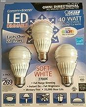 Feit 7.3 Watt A19 Dimmable LED Light Bulbs 3-Pack (equiv to 40 watts)