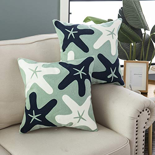 Taisier Home Embroidered Navy Blue&White Starfish Throw Pillow Covers, Square 18 Inches Naturial Style for Baby Bedding Pillow Cover,Set of 2 Pieces