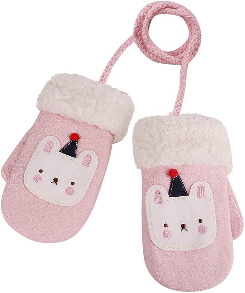 Kids Gloves with Furry Trim Winter Warm Cozy Gloves Snow Ski Mittens w/Neck String for Little Children
