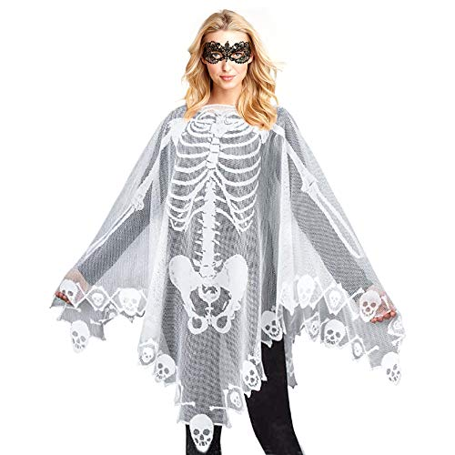 Skeleton Lace Poncho for Women Skull Bones Halloween Poncho with Lace Masquerade Mask for Halloween Skeleton Costume