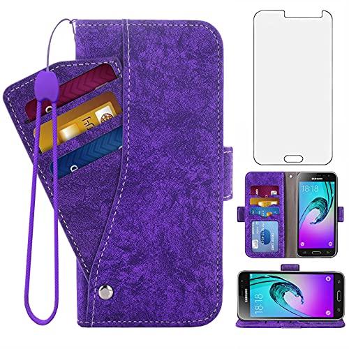 Asuwish Compatible with Samsung Galaxy J3 2016/J 3 V/J36V/Sky/Amp Prime Wallet Case Tempered Glass Screen Protector Card Holder Stand Kickstand Phone Cases for Glaxay Sol J3V JV3 J36 6 J320V Purple