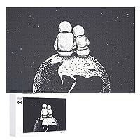 宇宙飛行士のカップル Astronauts Couple 1000個の 木製ピース ジグソーパズル ワンピース (50x75cm) ジグソーピース 立体パズル 木製ジグソーパズル 装飾のおもちゃ 木のおもちゃ 人気 おもちゃ 積み木 木のパズル