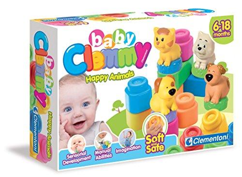 Clementoni 14773 Clemmy Bausteine, Tier-Farm aus Soft-Blocks, Motorikspielzeug, Babyspielzeug zum Greifen & Beißen, Blöcke und Bilderbuch für Kleinkinder ab 6 Monaten