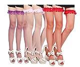 Yulaixuan Medias de rejilla de rejilla para mujer Medias de encaje tridimensionales Medias de malla de muslo Calcetines altos Paquete de 5 (2 púrpuras / 2 rosas / 1 rojo)