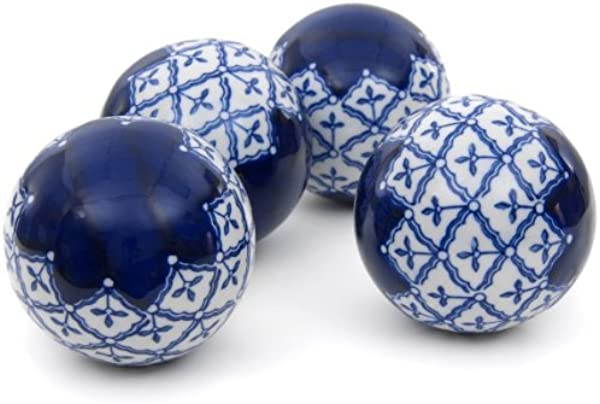 Oriental Furniture 4 Blue White Medallions Porcelain Ball Set