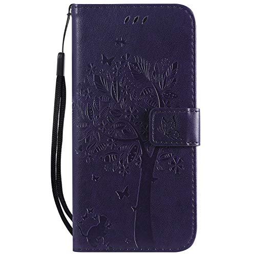 LODROC Huawei P30 Lite/nova 4e Hülle, TPU Lederhülle Magnetische Schutzhülle [Kartenfach] [Standfunktion], Stoßfeste Tasche Kompatibel für Huawei P30Lite - LOKT0101152 Violett