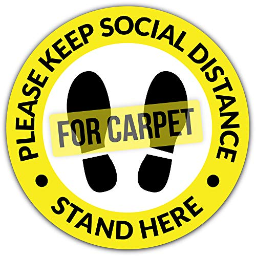 Social Distancing Floor Decals for Carpet / 6 Feet Notice Floor Sign for Public Places / Slip Resistant Safety Notice Floor Decal / Commercial Grade Stand Here Sign for Stores, Businesses, Restaurants