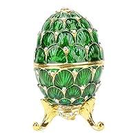 ジュエリーボックスジュエリーオーガナイザー、母の日のネックレスに特徴的なヴィンテージスタイルのイースターエッグジュエリーボックス(緑)