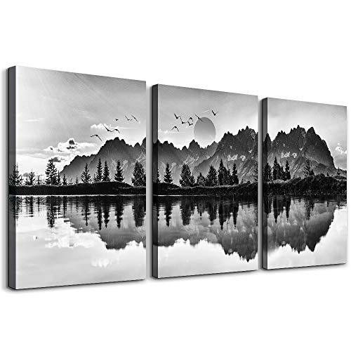 wall art for living room Black and white landscape painting bathroom bedroom Wall Art