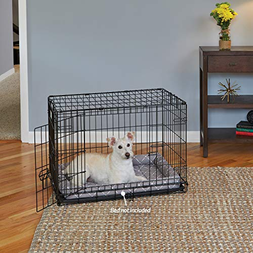 Dog Crate MidWest ICrate 30 Inch Double Door Folding Metal Dog Crate w/ Divider Panel, Floor Protecting Feet & Leak Proof Dog Tray 30L x 19W x 21H Inches, Medium Dog Breed, Black
