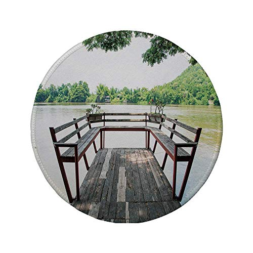 Rutschfreies Gummi-rundes Mauspad Reisedekor Holzterrasse auf dem Fluss Romantische Beruhigung im Wald Bild Dunkelbraun und Grün 7,87 \'x 7,87\' x 3 mm
