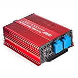 1500W Pure Sine Wave Inverter 12V to 120V AC with 2 AC outlets (IP54 ETL Approved Sockets),DC5V 2 Amp USB Output, LCD Wire Remote kit and OFC Battery Cables,Input terminals Fixing Wrench
