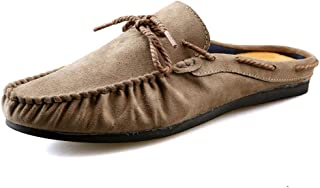 Shangruiqi Driving Loafer for Men Boat Moccasins Slip on Fashion Casual Round Toe Flat-Heeled Light Youth Trend Anti-Skid (Color : Khaki, Size : 8.5 UK)