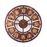 AMYZ Placa Creativa Reloj de Pared Retro Old Wind Reloj de Pared Industrial Silencio sin tictac Reloj de Pared de Metal Redondo para inauguración de la casa Decoración para Colgar en la Pared del