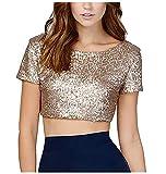 keland - Maglietta da donna, sexy, con paillettes oro L