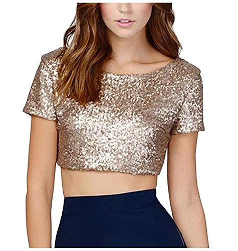keland Shirtzshop - Maglietta sexy da donna, con paillette, con scollo a V, con paillettes oro L