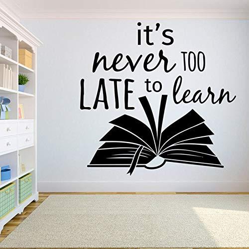 Las calcomanías de pared de libros nunca es demasiado tarde para aprender educación escolar sala de lectura decoración de la biblioteca pegatinas de vinilo