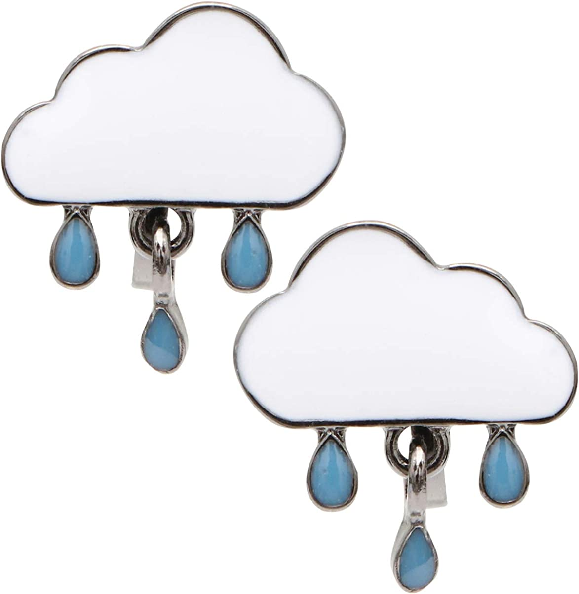 Happyyami 1 Pair Cloud Raindrops Earrings Lovely Statement Ear Clips Earrings Eardrop Dangler Ear Jewelry For Girls Women Ladies ((White)