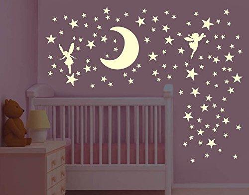 Klebefieber Leucht-Wandtattoo-Set Mond mit Elfen B x H: 60cm x 60cm