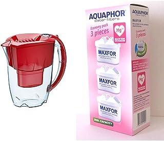 Aquaphor Maxfor B100-25 Carafe filtrante Améthyste Rouge cerise & MAXFOR (B25) Mg Pack de 3 cartouches filtrantes AQUALEN ...