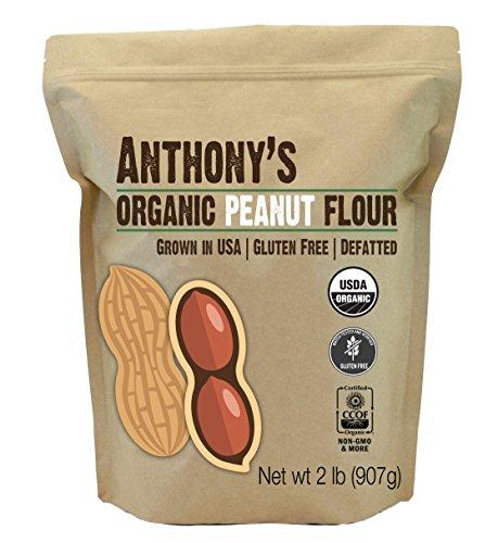 Anthony's Organic Peanut Flour, Defatted, 2 lb, Light Roast 12% Fat, Verified Gluten Free