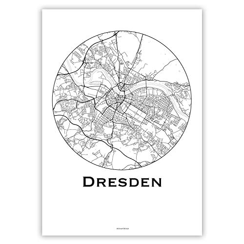 Plakat Dresden Deutschland Minimalist Map - Poster, City Map, Dekoration, Geschenk