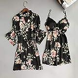 IAMZHL Sexy Lady Women Satin Short Kimono Robe Camisón Albornoz Floral Ropa de Dormir Soft Robe Wedding Bride Dama de Honor Albornoz-2PCS Robe Set Black-1-XL
