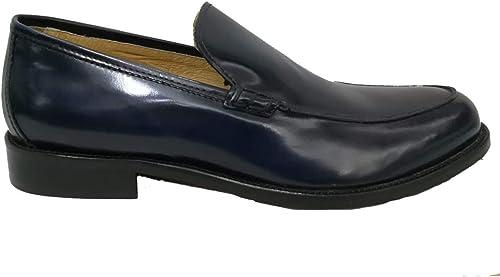 Sannino Hombre Mocasín de Piel cepillada negro o azul 311. Fondo de Cuero. zapatos de Piel otoño Invierno 2019