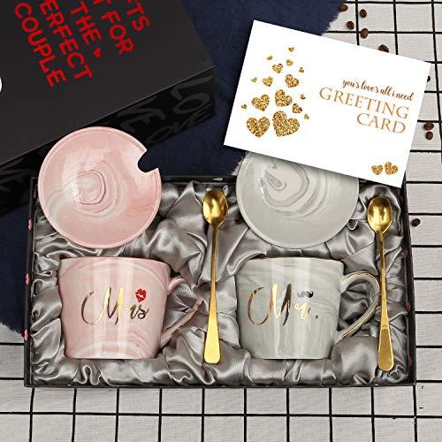 exreizst Mr and Mrs Kaffeetassen – Hochzeitsgeschenk für Braut und Bräutigam Brautparty Geschenk Verlobungsgeschenk Jahrestag Geschenk für Ehepaare – 340 ml Keramik Marmor Tassen mit Geschenken (oval)