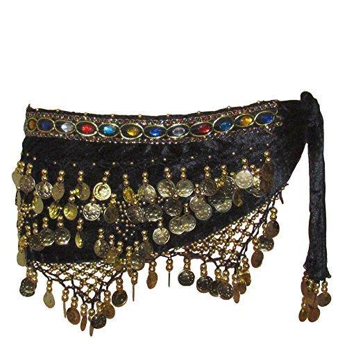 Flevado - Pañuelo de danza profesional, diseño de terciopelo y monedas doradas