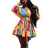 hirigin Spring Women Plus Size Ribbons Dress V-Neck Loose Folds Tassel Colorful Short Dress Holiday Streetwear (Orange, XL)