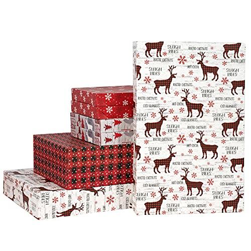 RUSPEPA Paquete De 8 Cajas De Navidad - Alce Navideño De Cuadros Rojos De Tamaño Surtido/Copo De Nieve/Cuadros De Búfalo Rojo Y Negro/Alce Navideño con Cajas De Árbol De Navidad con Tapas