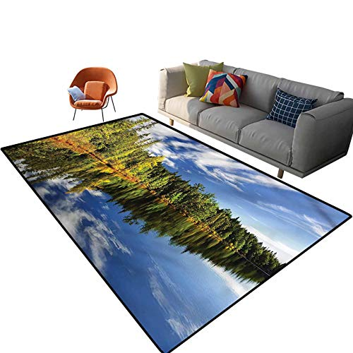 Indoor Room Landscape Area Rugs,6'x 9',Forest Reflecting on Lake Floor Rectangle Rug with Non Slip Backing for Entryway Living Room Bedroom Kids Nursery Sofa Home Decor