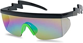 SunglassUP 80's Neon Semi Rimless Style Retro Rainbow Mirrored Transparent Lens ZigZag Sunglasses