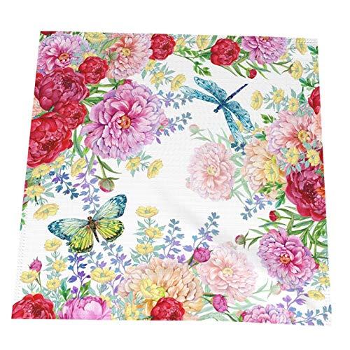 Ye Hua Aquarell Pfingstrosen Blumen, Libelle, Schmetterling Exquisite Polyester Tischsets für Esstisch Hitzebeständige Tischsets 4er-Set