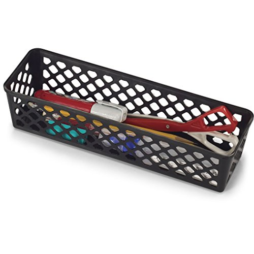 Officemate OIC Achieva Long Supply Basket, Pack of 3, Recycled, Black (26200)