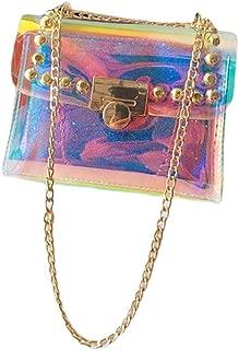 FENICAL Crossbody Bag Holographic Messenger Bag Iridescent Chain Purse Transluscent Clutch Purse for Women Ladies girls, 18x8x14cm