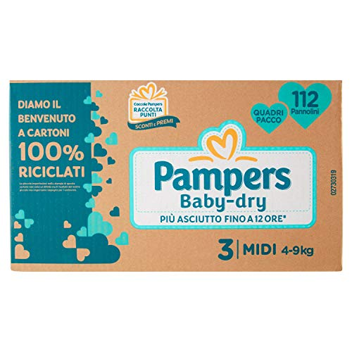 Pampers Pañales Baby-Dry Talla 3, 112 unidades – 2890 g