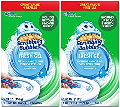 Scrubbing Bubbles Fresh Gel Toilet Cleaning Stamp Refill Value Pack, Rainshower, 24 Stamps, 2 Pack