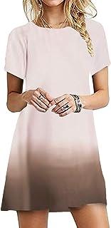 OMZIN - Vestido de mujer de manga corta, informal, de corte redondo, en tallas grandes, de 2XS a 5XL Jb-beige XL