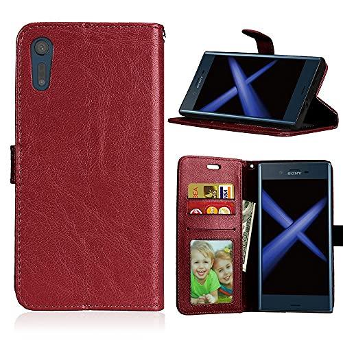 ShuiSu Funda con tapa para Sony Xperia XZ/XZs, piel sintética de alta calidad, con cierre magnético de silicona suave, función atril, bolsillos para tarjetas, color marrón