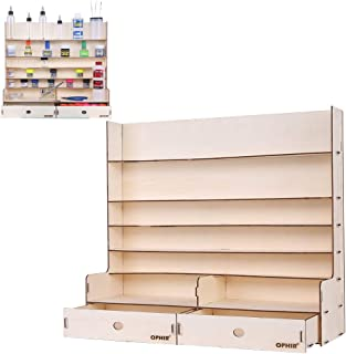 OPHIR Wooden Paint Rack with 2X Cabinet 5X Floor Wooden Stand Pigment Organizer Holder Ink Bottle Stands Hobby Tools Acrylic Paints Storage Rack for Airbrush Paint Tamiya Paints,AV Paints